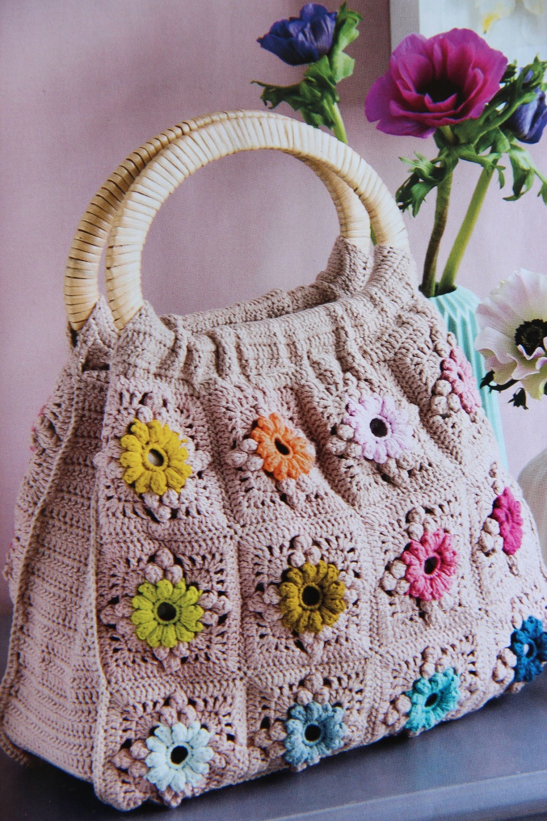 sac en grannies floraux Laurence Mabit Passion Tricot PurPle Laines