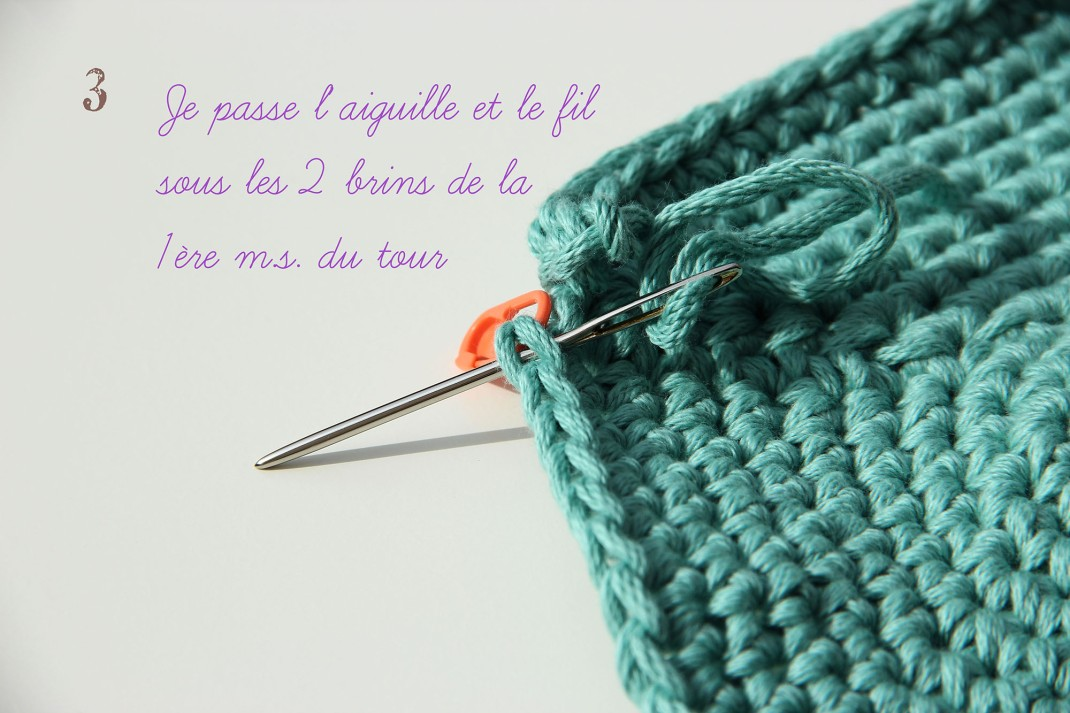 tuto la maille coulée invisible 3 PurPle Laines