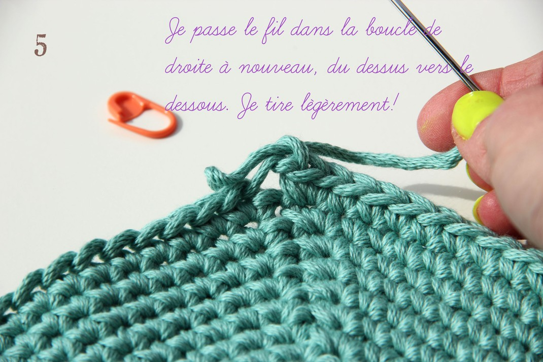tuto la maille coulée invisible 5 PurPle Laines